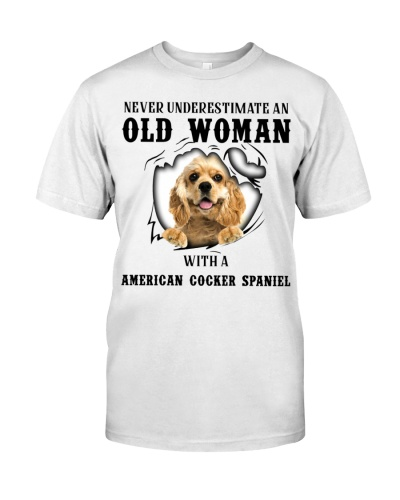 Old Woman With A American Cocker Spaniel