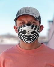 Bichon Frise Stripes FM Cloth face mask aos-face-mask-lifestyle-06