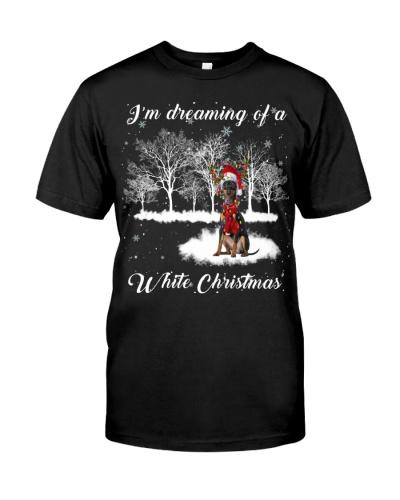 Miniature Pinscher-White Christmas