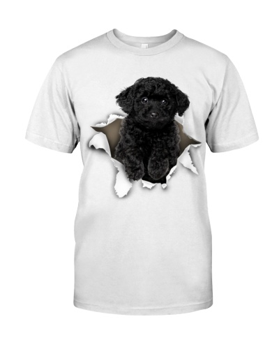 Black Toy Poodle-Torn Paper Effect