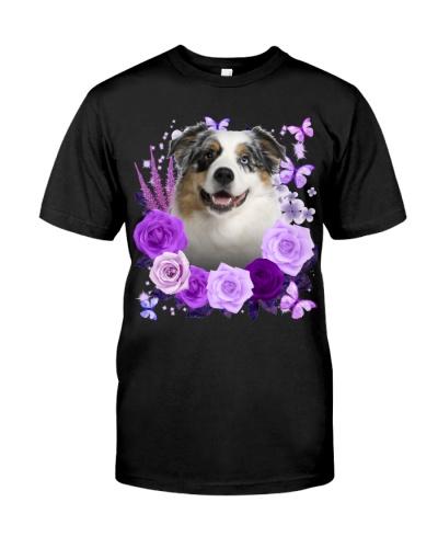 Australian Shepherd-02-Purple Flower