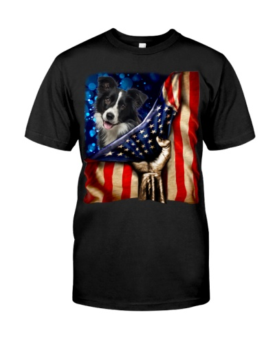 Border Collie American Flag-Front
