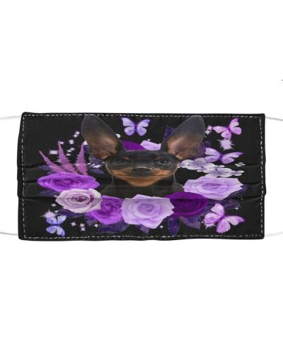 Miniature Pinscher Purple Flower Face