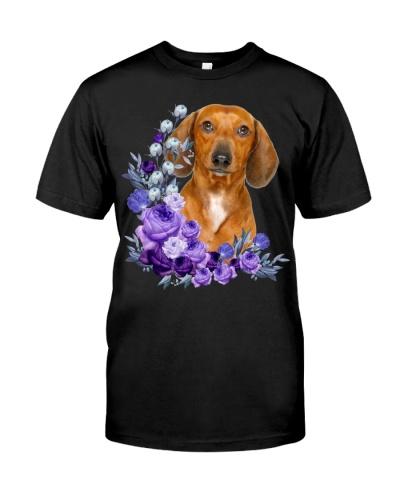 Dachshund-Purple Flower Stems