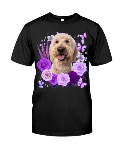 Goldendoodle-Purple Flower