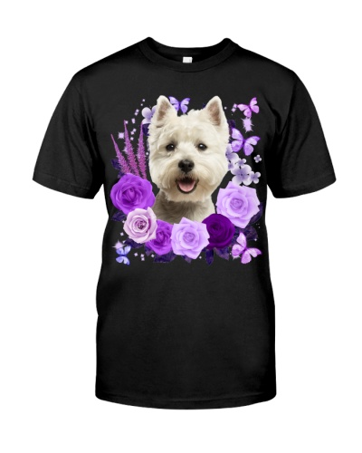 West Highland White Terrier-Purple Flower