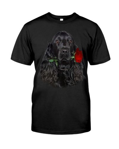Cocker Spaniel With Rose Branch