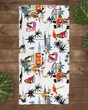 Basset Hound Summer Beach  Beach Towel aos-towelbeach-vertical-front-lifestyle-1