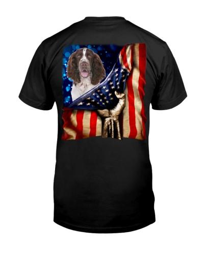English Springer Spaniel American Flag