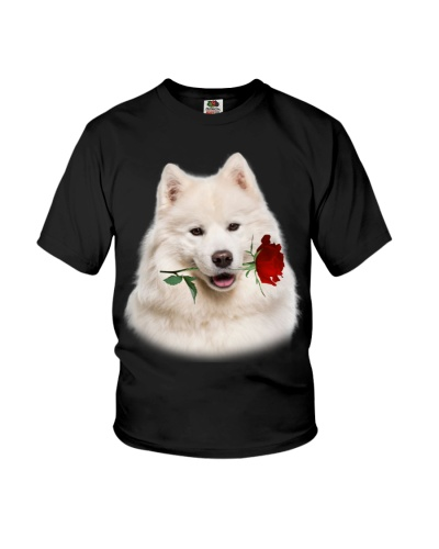 Samoyed With Rose Branch