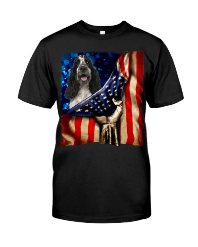 English Cocker Spaniel-1 American Flag-Front