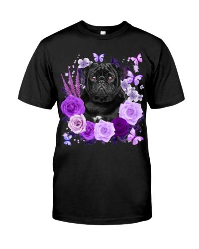 Pug-Black-Purple Flower