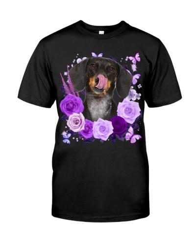 Dachshund-Purple Flower