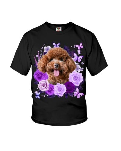 Poodle Purple Flower Face