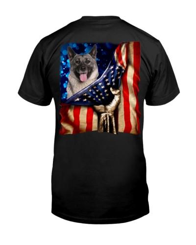 Norwegian Elkhound American Flag