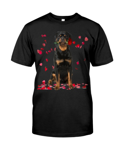 Rottweiler Raining Red Roses