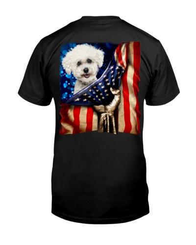 Bichon Frise American Flag