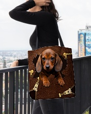 NT056-Dachshund-02 All-over Tote aos-all-over-tote-lifestyle-front-05