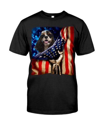 American Cocker Spaniel American Flag-Front