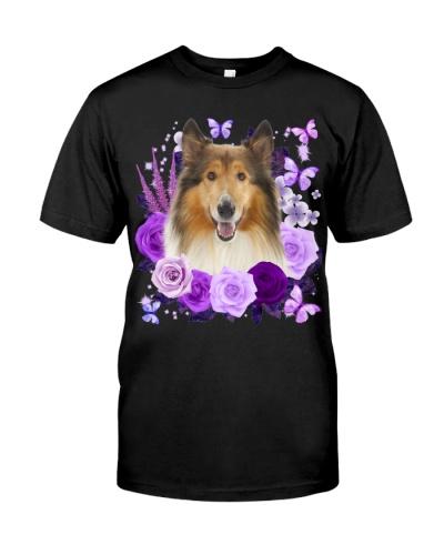 Rough Collie-Purple Flower