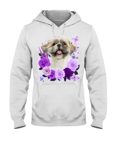 Shih Tzu 02 Purple Flower Face