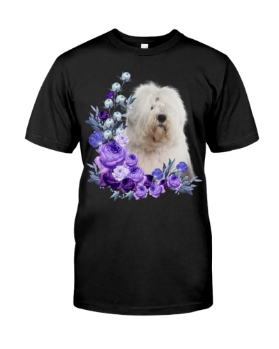 Old English Sheepdog-Purple Flower Stems