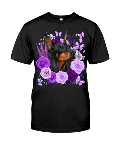 Doberman-02-Purple Flower