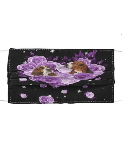 Basset Hound Purple Flower Heart Face
