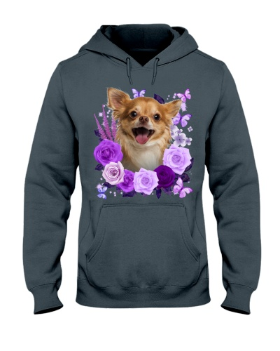 Chihuahua 02 Purple Flower Face