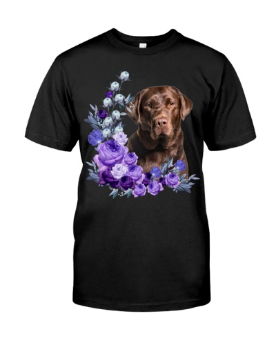 Chocolate Labrador Retriever-Purple Flower Stems