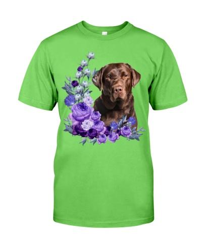 Chocolate Labrador Retriever-Purple Flower Stems