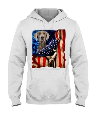 Weimaraner American Flag-Front
