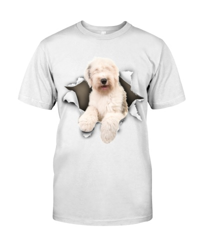 Old English Sheepdog-Torn Paper Effect