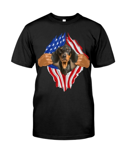 Dachshund-Torn-Flag USA