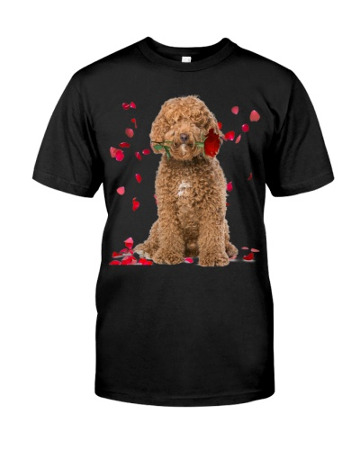 Labradoodle Raining Red Roses