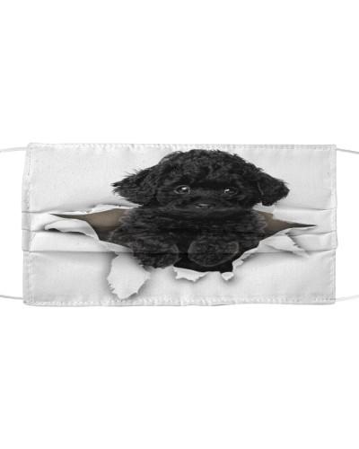 Black Toy Poodle Torn Paper Face