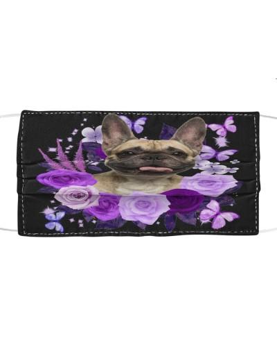 French Bulldog Purple Flower Face