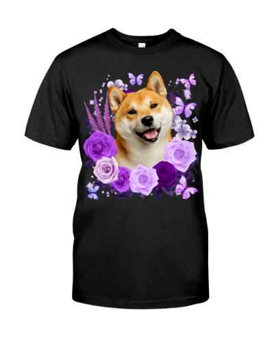 Shiba Inu-Purple Flower