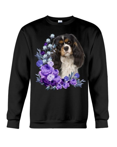 Cavalier King Charles Spaniel-Purple Flower Stems