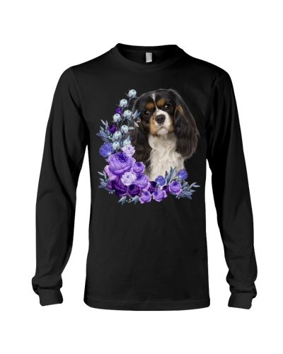 Cavalier King Charles Spaniel-Purple Flower Stems