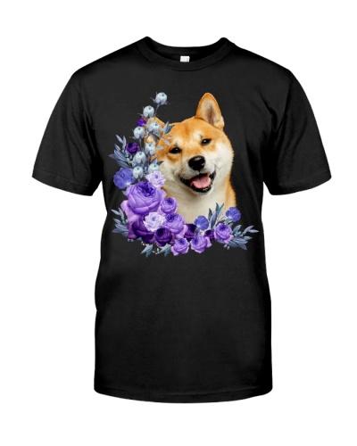 Shiba Inu-Purple Flower Stems