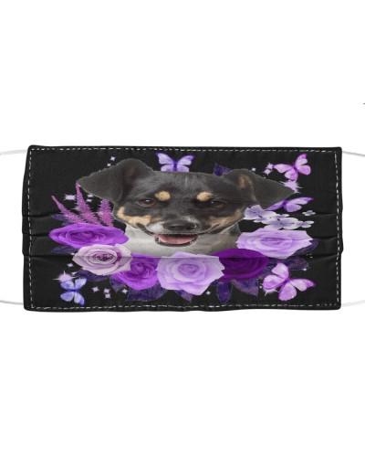 Jack Russell Terrier Purple Flower Face
