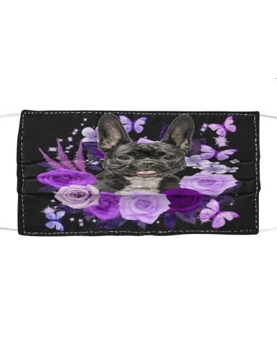 French Bulldog 02 Purple Flower Face