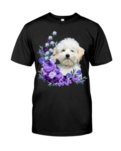 Maltipoo-Purple Flower Stems