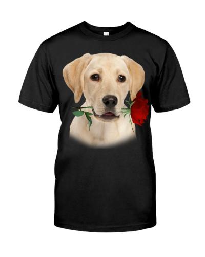 Labrador Retriever With Rose Branch