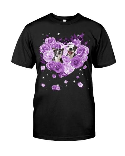 Boston Terrier-Purple Flower Heart