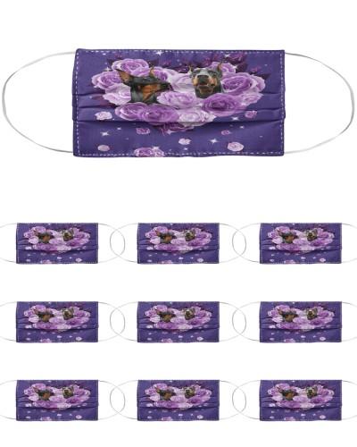 Doberman Purple Flower Heart Face