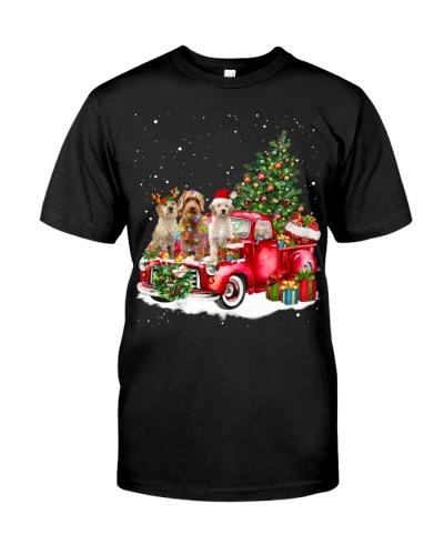 Goldendoodle-Sitting On Car Hood