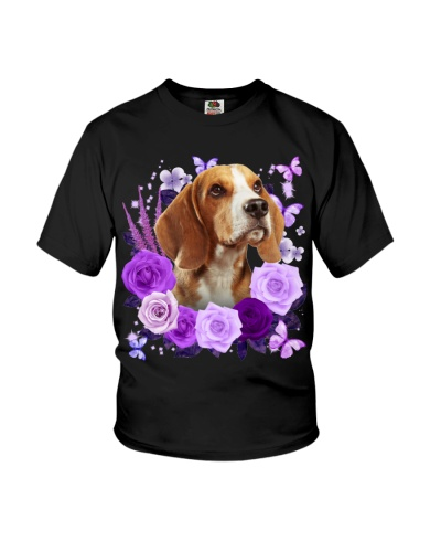 Beagle Purple Flower Face