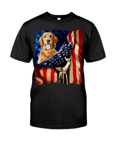 Golden Retriever American Flag-Front